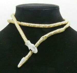 Crystal Snake Head amp; Tail Necklace Choker Hollow Gold Tone Chain Magnet Close