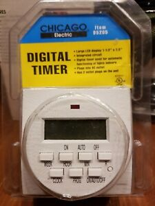 Chicago Electric Digital Timer for Automatic Light 2 Plug Outlets Harbor Freight