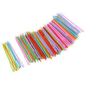 100 Pieces Colorful Plastic Sewing Needles Color Scissor Sewing Needles Safety $7.37