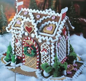 Gingerbread Cottage House Christmas PLASTIC CANVAS PATTERN $2.59