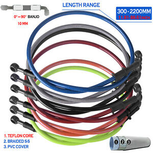 300 2200mm 0 90° Braided Motorcycle Brake Line Hose Oil Clutch Pipe Cable Steel $12.71