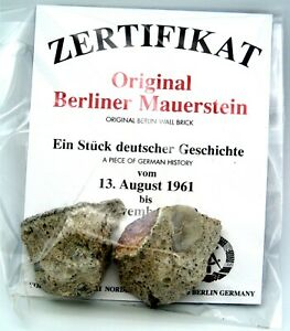 Real Piece of the BERLIN WALL with Certificate of Authenticity Small $16.95