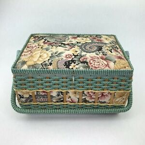 Vintage Sewing Basket Wicker Hollywood Regency with Handle 13quot; x 10quot; x 8quot; $34.99