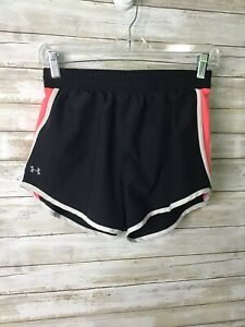 Under Armour Shorts Heatgear Size XS Women's Running Lined Athletic Black Peach $10.00