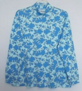 Lands#x27; End Blue Floral print mock neck top long sleeves Sizes 1X 2X 3X NWT