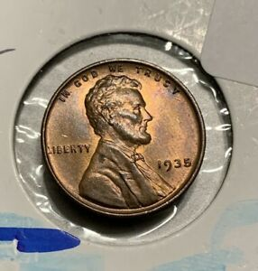 1935 P Lincoln Wheat Cent Uncirculated Copper Penny 1C Coin No Mint Mark