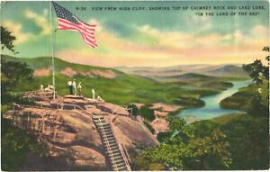 View From High Cliff Showing Top of Chimney Rock And Lake Lure NC Postcard