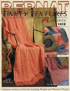 BERNAT TIMELY TEXTURES AFGHANS 1412 By Patterns Written In Double Knitting $70.95