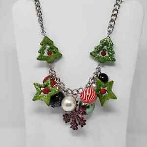 You and I Brand Christmas Tree Necklace Chunky Silver Tone Green Red Stars Balls $24.99