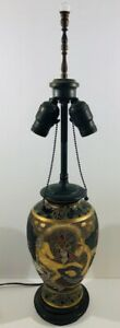 Antique Japanese Satsuma Hand painted Table Lamp 31 Tall Bottom to Top