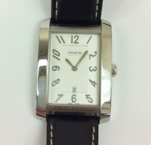 Coach Watch Women Silver Tone Rectangle Black Leather New Battery in Box $74.99