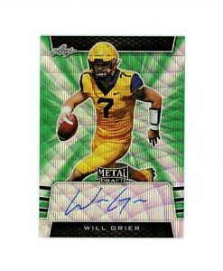 2019 Leaf Metal Draft WILL GRIER RC Cowboys On Card Auto Green Wave # 5 MINT $59.99