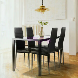5 Pieces Dining Table Set for 4Kitchen Room Tempered Glass Dining Table