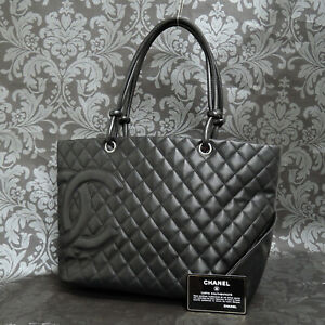 CHANEL Calf Skin Leather Cambon Quilted Black Tote Bag Handbag #2399 Rise on $1698.00