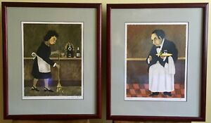Guy Buffet Lithographs: quot;Bar Maidquot; and quot;Waiterquot; Framed Signed pr #423 500 $400.00
