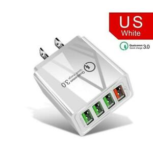 White 4 Port Fast Quick Charge Wall Charger Power Adapter Plug