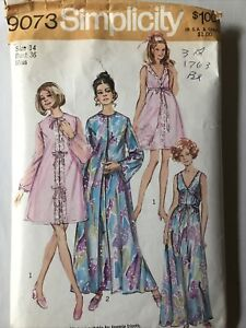 1970s Peignoir Nightgown Vintage Sewing Pattern Size 14 Simplicity 9073 $8.00