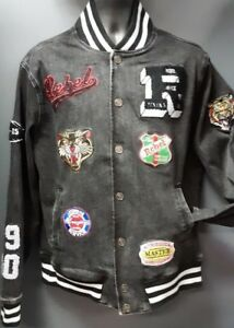 Men#x27;s Rebel Minds Jean Jacket with Patches Black