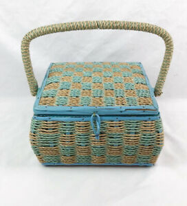 Vintage Sewing Basket Box Woven Wicker With Organizer Tray $55.00