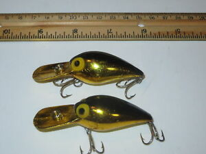 Lot of 2 Storm Wiggle Wart Vintage Pre Rapala Lures Gold