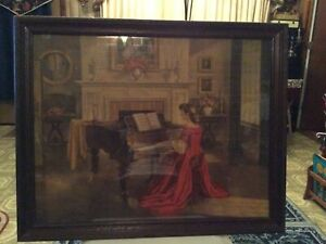 Vintage Painting By M. Ditlef Sonata Lady In Red Dress Playing Piano Signed. $450.00