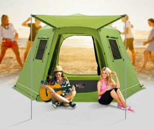 Outdoor 5 8 Person Dual Layers Anti Hard Rain Family 6 Corners Automatic Tent $360.00