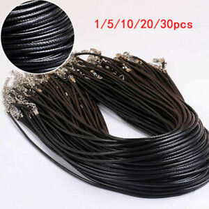 20Pcs Black Braided Leather Cord Rope 2mm Necklace Chain With Lobster Claw Clasp C $2.75
