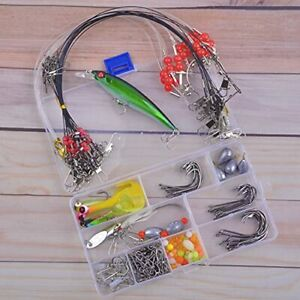Saltwater Surf Fishing Tackle Kit 138pcs Leader Rigs Saltwater Lures Spoon Gear
