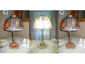 ANTIQUE PITTSBURGH REVERSE PAINTED LAMP SIGNED $725.00