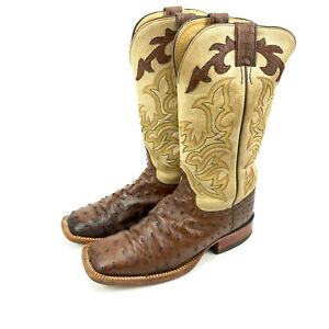 Justin Boots 8500 Full Quill Ostrich Western Boots Men 8 EE Leather Brown USA