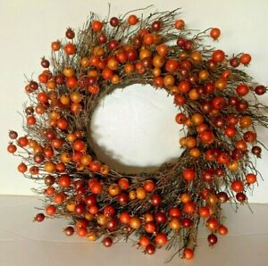 21quot; Fall Door Wreath Natural Grapevine with orange sparkle balls NEW $18.99