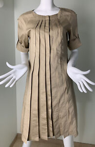BROOKS BROTHERS Dress Tan Pleated Button Short Sleeve Womens Size 4 $25.00