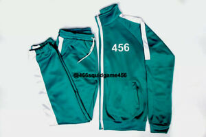 Squid Game Tracksuits Jacket Pants Halloween Costume Adult Man Woman Green Teal