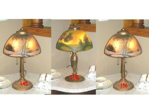 ANTIQUE PITTSBURGH REVERSE PAINTED LAMP SIGNED $895.00