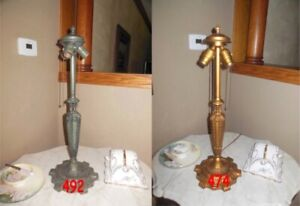 ANTIQUE PITTSBURGH LAMP BASE FOR REVERSE PAINTED LAMP SIGNED $175.00