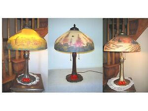 ANTIQUE PITTSBURGH REVERSE AND OBVERSE PAINTED LAMP SIGNED $1295.00