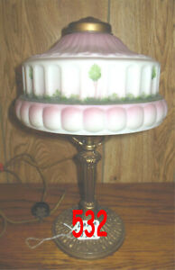 ANTIQUE PITTSBURGH OBVERSE PAINTED BOUDOIR LAMPS SIGNED $129.00