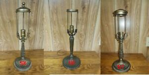 ANTIQUE PITTSBURGH LAMP BASE FOR REVERSE PAINTED LAMP SIGNED $149.00