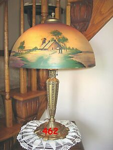 ANTIQUE PITTSBURGH OBVERSE NOT REVERSE PAINTED LAMP DOUBLE SIGNED $575.00