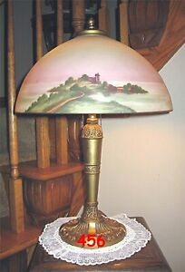 ANTIQUE PITTSBURGH OBVERSE NOT REVERSE PAINTED LAMP $575.00