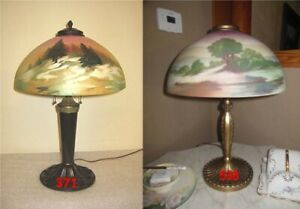 ANTIQUE PITTSBURGH OBVERSE PAINTED NOT REVERSE PAINTED LAMP DOUBLE SIGNED $475.00