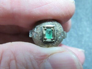 emerald sterling silver ring $35.00