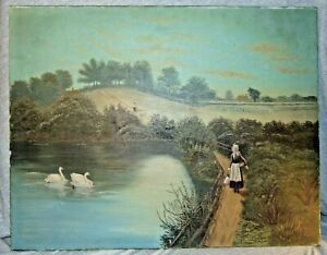 Antique Farmers amp; Swans in Lake Pastoral O C Painting Signed M.P.S.