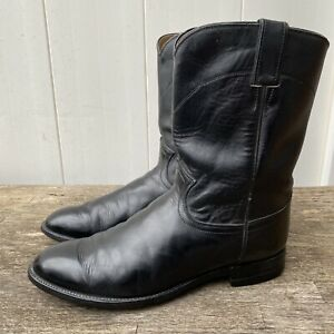 Justin 3133 Men#x27;s 10 D Black Leather Pull On Ropers Western Cowboy Work Boots