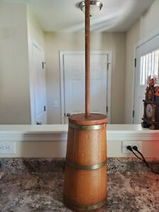 Antique Wooden Butter Churn With Brass Bands $20.00