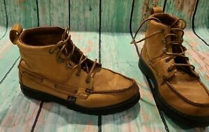 Justin 995 Chukka Grizzly Tan Moc Toe Lace Up Leather Boots Men#x27;s 9 1 2 M