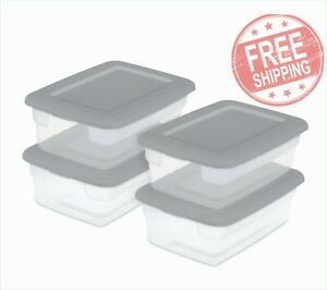 Clear Plastic Box Storage Container Clear Base with Gray Lid Set of 4 Titanium $19.00