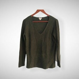 Womens J. crew v neck wool blend sweater forest Green sz small S $25.00