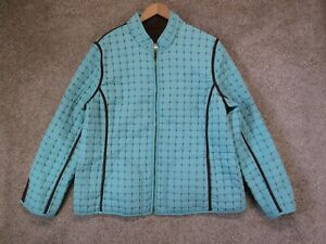 Women#x27;s Blue And Brown Quilted Puffer Jacket $26.99