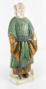 Antique Chinese Ming or Tang Sancai Green Amber Straw Glazed Priestess Temple $375.00